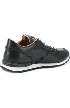 Кожаные кроссовки на шнуровке Tod's черные | Фото №4