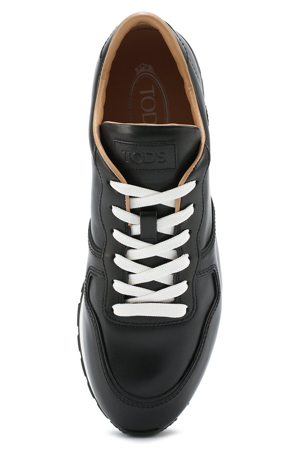 Кожаные кроссовки на шнуровке Tod's черные | Фото №5
