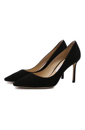 Женская замшевые туфли romy 85 JIMMY CHOO черного цвета, арт. R0MY 85/SUE | Фото 1