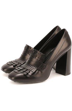 Кожаные туфли Gomma с бахромой Tod's черные | Фото №1