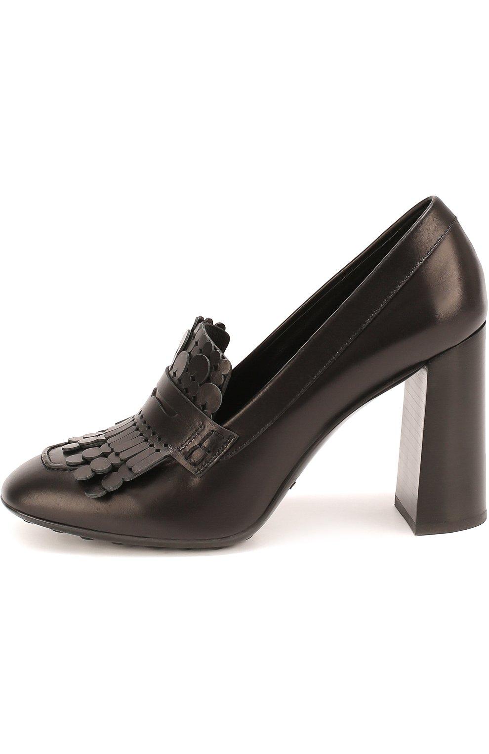 Кожаные туфли Gomma с бахромой Tod's черные | Фото №2
