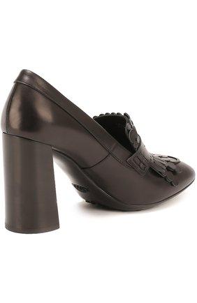 Кожаные туфли Gomma с бахромой Tod's черные | Фото №3