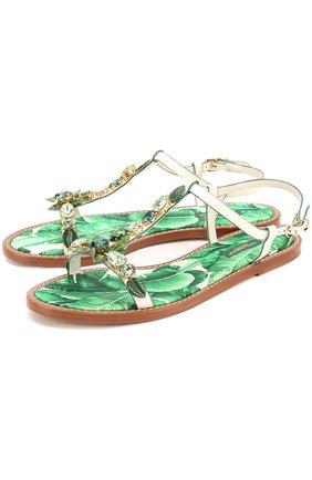 Кожаные сандалии Portofino с кристаллами | Фото №1