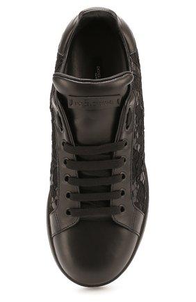 Кожаные кеды Portofino с кружевной отделкой Dolce & Gabbana черные | Фото №4