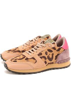 Комбинированные кроссовки Valentino Garavani с рисунком под леопарда   Фото №1