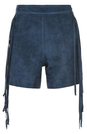 Замшевые мини-шорты с бахромой   Фото №1