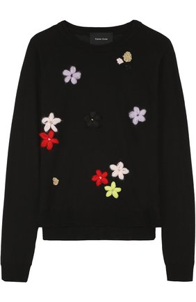 Пуловер с круглым вырезом и цветочной вышивкой Simone Rocha черный | Фото №1