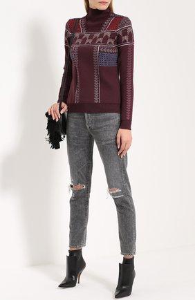 Шерстяной свитер с воротником-стойкой Peter Pilotto бордовый | Фото №1