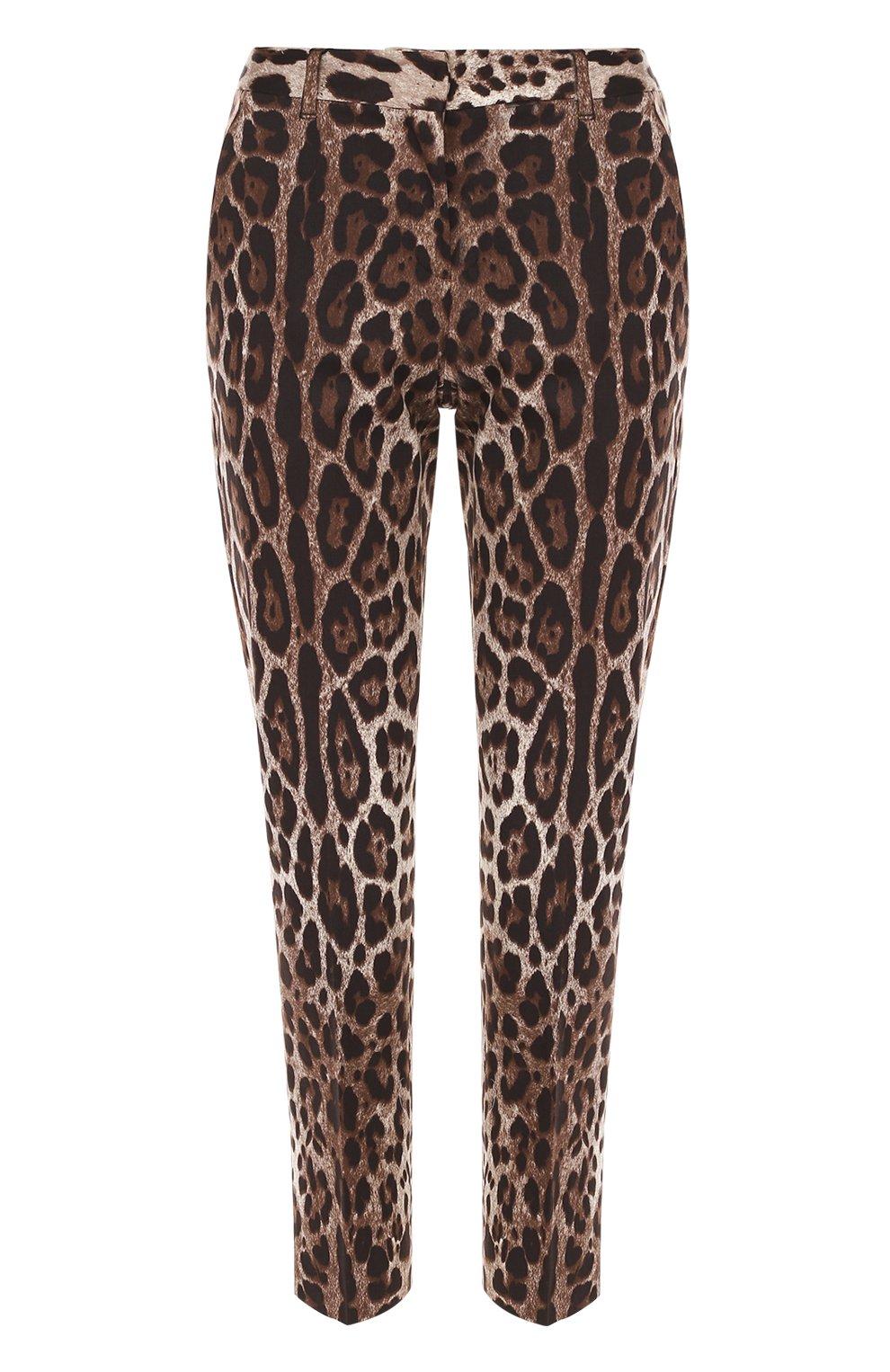 Укороченные брюки прямого кроя с леопардовым принтом | Фото №1