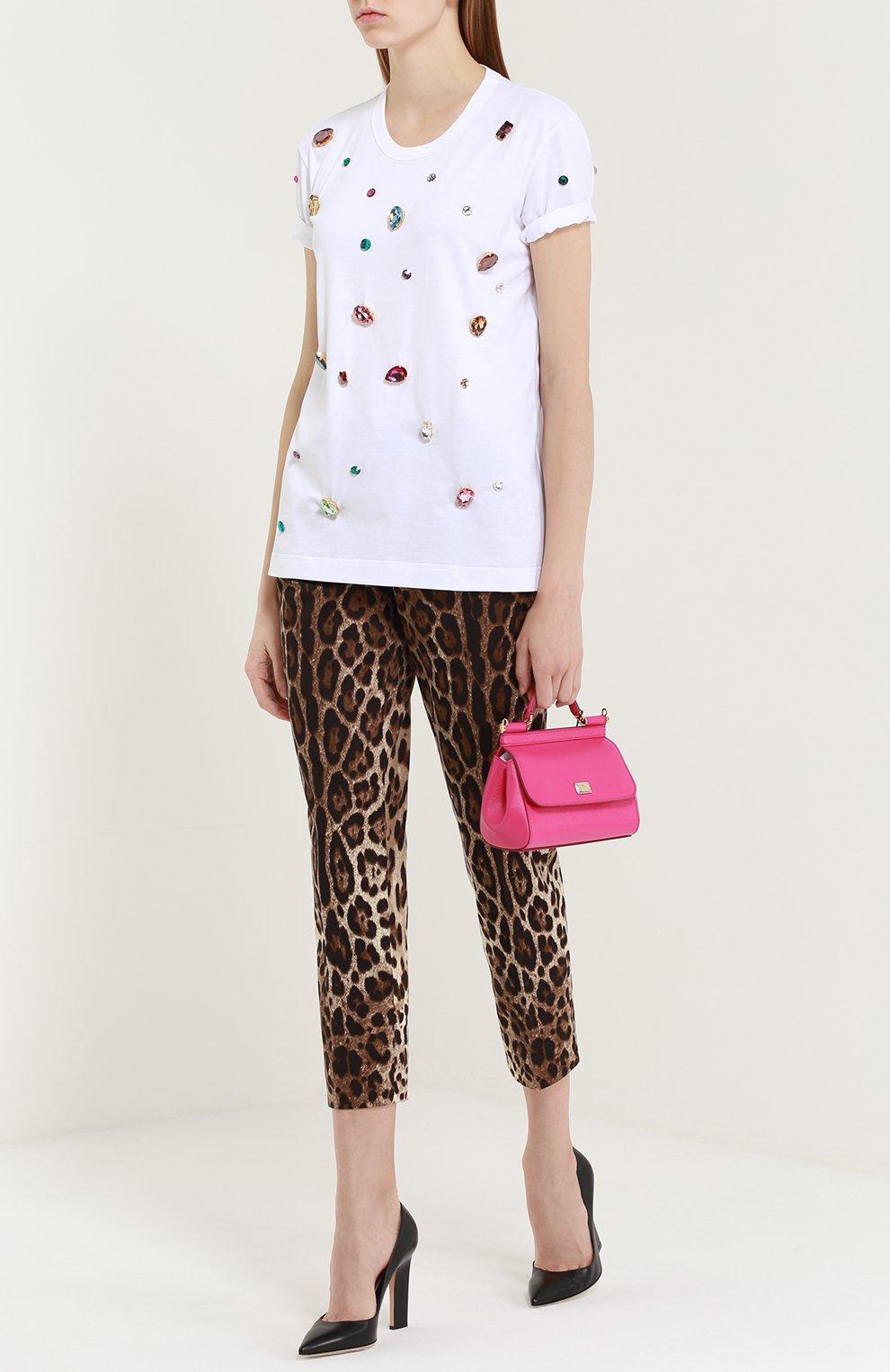 Укороченные брюки прямого кроя с леопардовым принтом | Фото №2