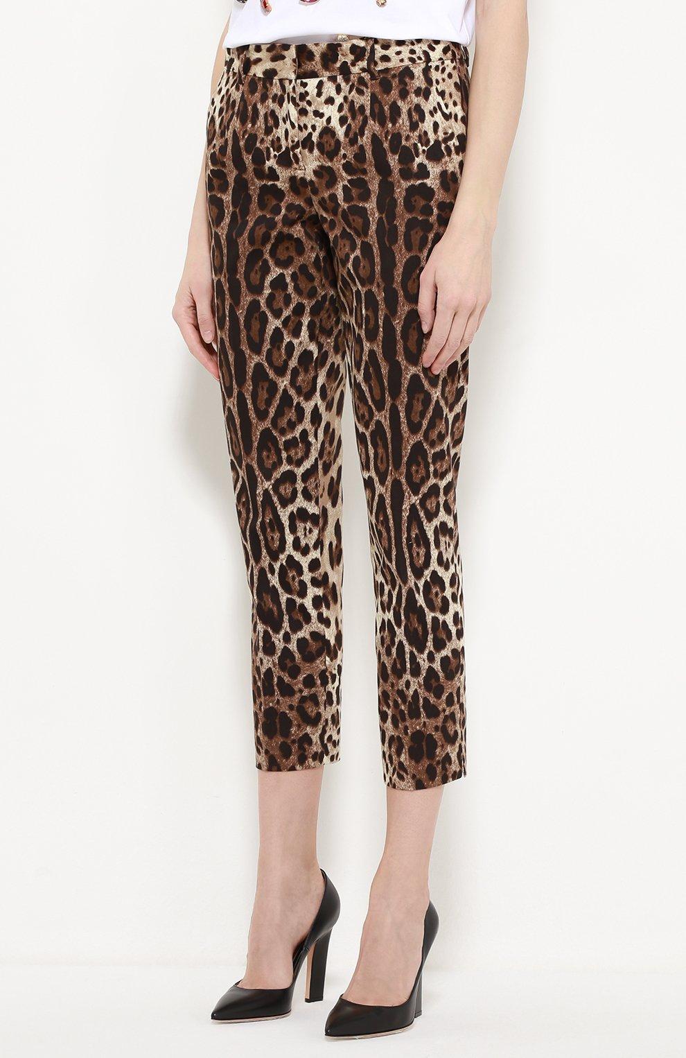 Укороченные брюки прямого кроя с леопардовым принтом | Фото №3