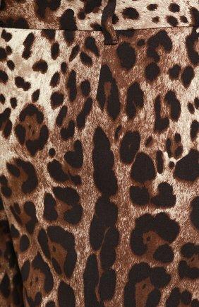Укороченные брюки прямого кроя с леопардовым принтом | Фото №5