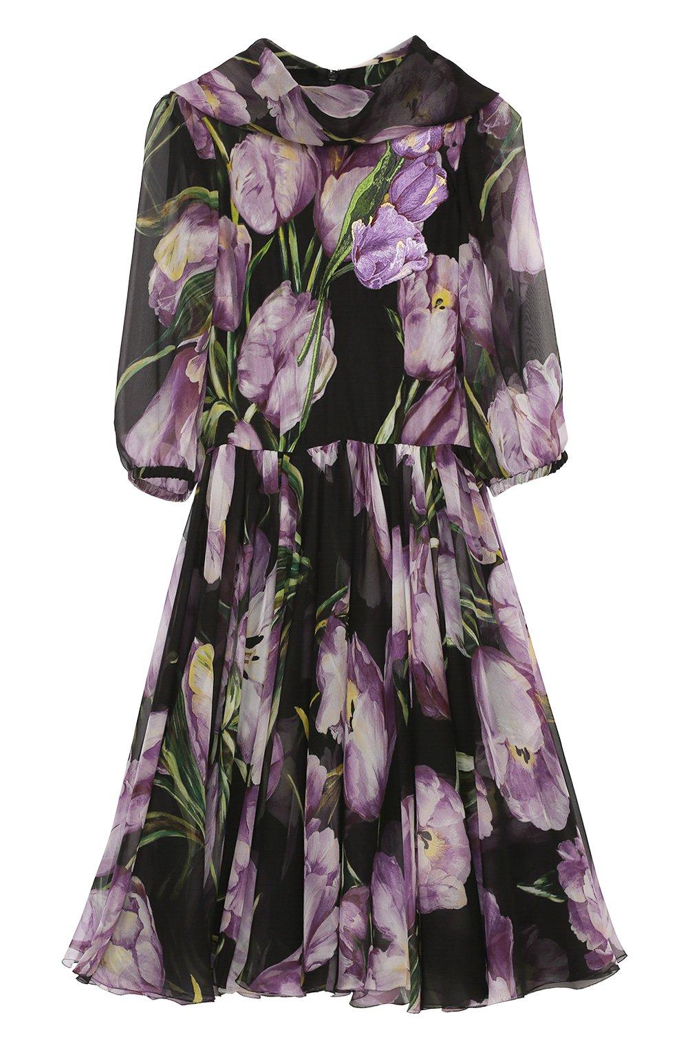 Шелковое мини-платье с цветочным принтом и воротником аскот | Фото №1