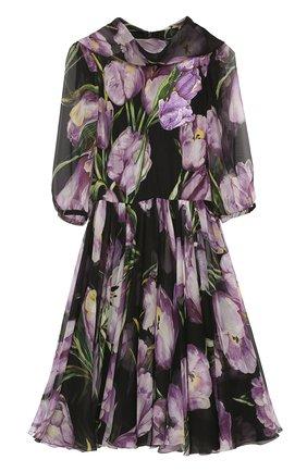Шелковое мини-платье с цветочным принтом и воротником аскот Dolce & Gabbana черное | Фото №1