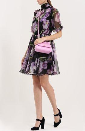 Шелковое мини-платье с цветочным принтом и воротником аскот Dolce & Gabbana черное | Фото №2