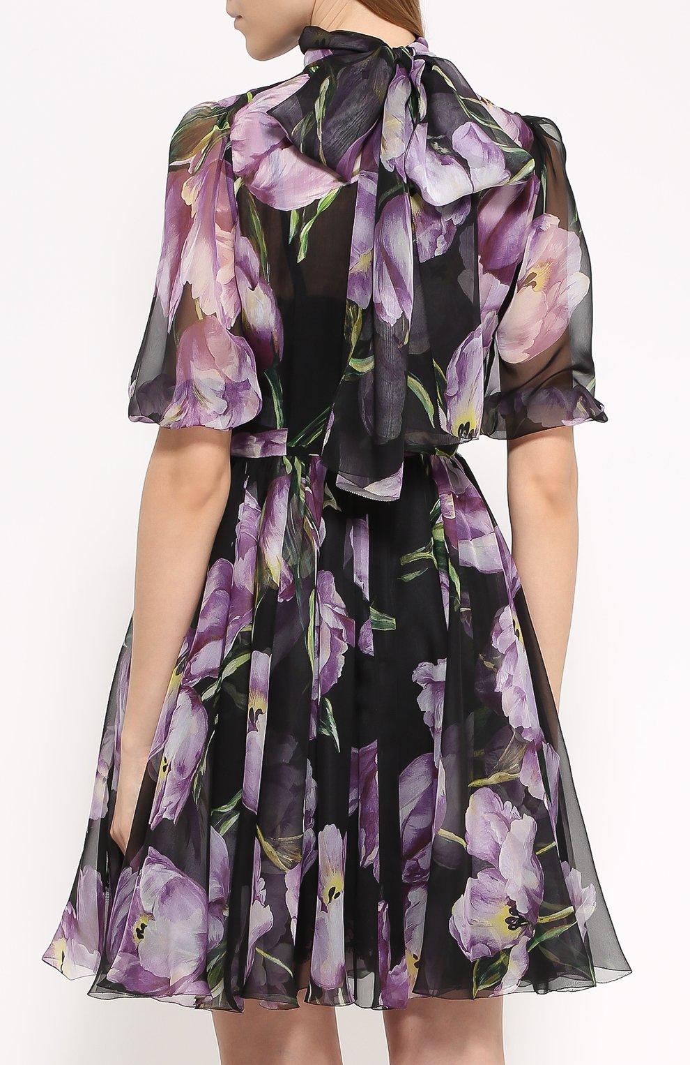 Шелковое мини-платье с цветочным принтом и воротником аскот Dolce & Gabbana черное | Фото №4