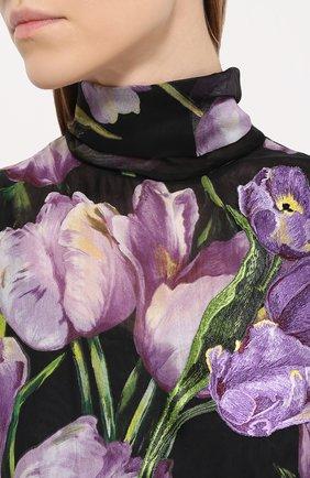 Шелковое мини-платье с цветочным принтом и воротником аскот Dolce & Gabbana черное | Фото №5