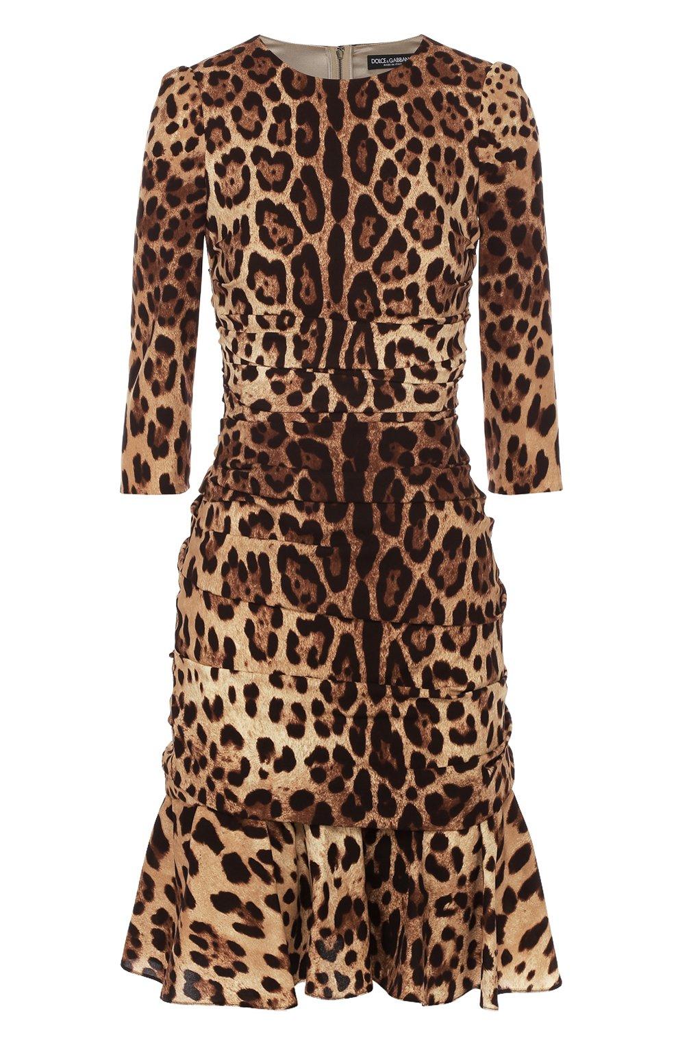 Шелковое мини-платье с драпировкой и леопардовым принтом   Фото №1