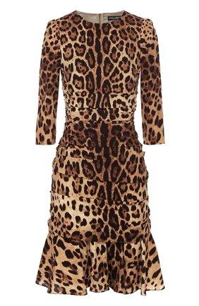 Шелковое мини-платье с драпировкой и леопардовым принтом Dolce & Gabbana коричневое   Фото №1