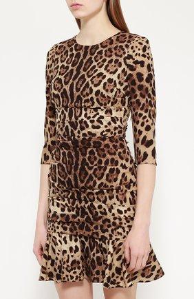 Шелковое мини-платье с драпировкой и леопардовым принтом Dolce & Gabbana коричневое   Фото №3