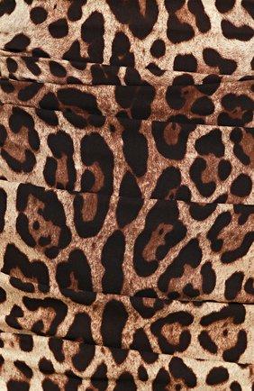 Шелковое мини-платье с драпировкой и леопардовым принтом Dolce & Gabbana коричневое   Фото №5