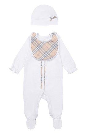 Пижама в комплекте с нагрудником и шапкой | Фото №1