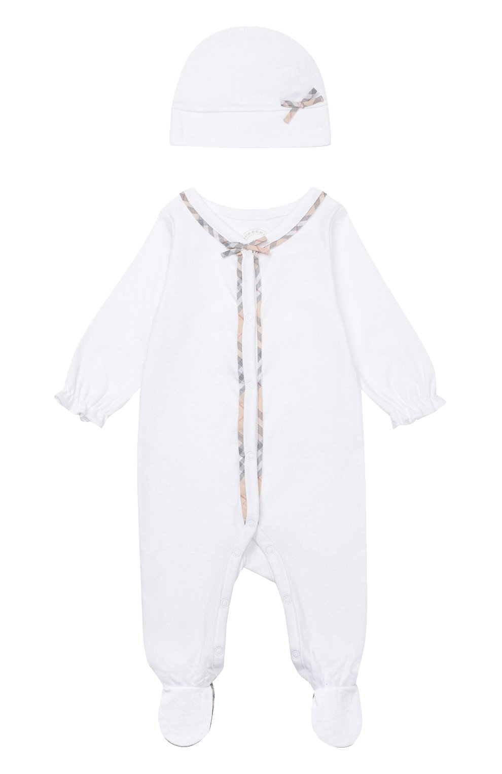 Детский пижама в комплекте с нагрудником и шапкой BURBERRY белого цвета, арт. 3998425   Фото 2