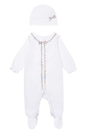 Пижама в комплекте с нагрудником и шапкой | Фото №2