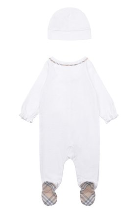 Детский пижама в комплекте с нагрудником и шапкой BURBERRY белого цвета, арт. 3998425   Фото 3