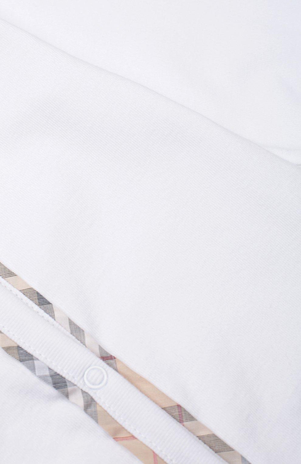 Детский пижама в комплекте с нагрудником и шапкой BURBERRY белого цвета, арт. 3998425   Фото 4