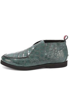 Мужские ботинки из кожи крокодила без шнуровки KITON зеленого цвета, арт. USSFLY/N00102 | Фото 2