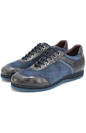 Замшевые кроссовки в с отделкой из кожи каймана   Фото №1