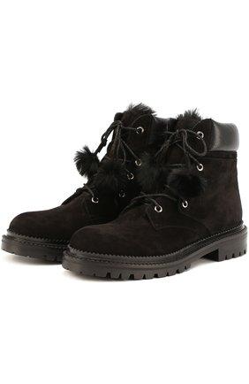 Замшевые ботинки Elba с помпонами   Фото №1