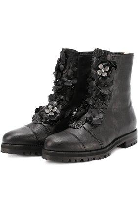 Женские кожаные ботинки havana с цветочными аппликациями JIMMY CHOO черного цвета, арт. HAVANA FLAT/GFQ | Фото 1