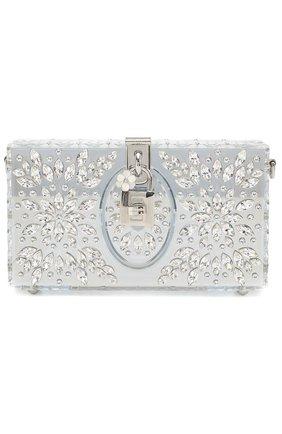 Клатч Dolce Box с отделкой кристаллами Dolce & Gabbana серебряного цвета | Фото №1