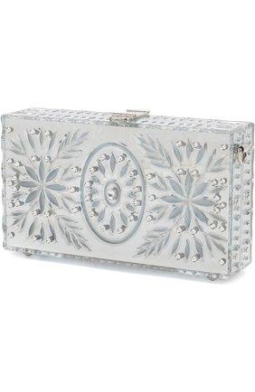 Клатч Dolce Box с отделкой кристаллами Dolce & Gabbana серебряного цвета | Фото №3