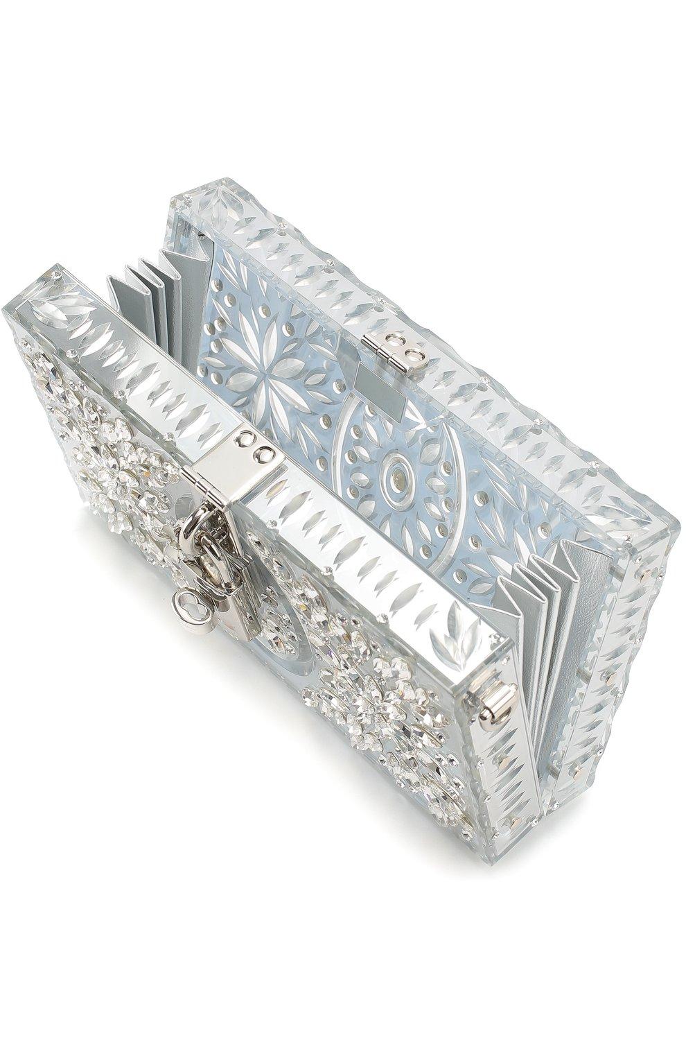 Клатч Dolce Box с отделкой кристаллами Dolce & Gabbana серебряного цвета | Фото №4