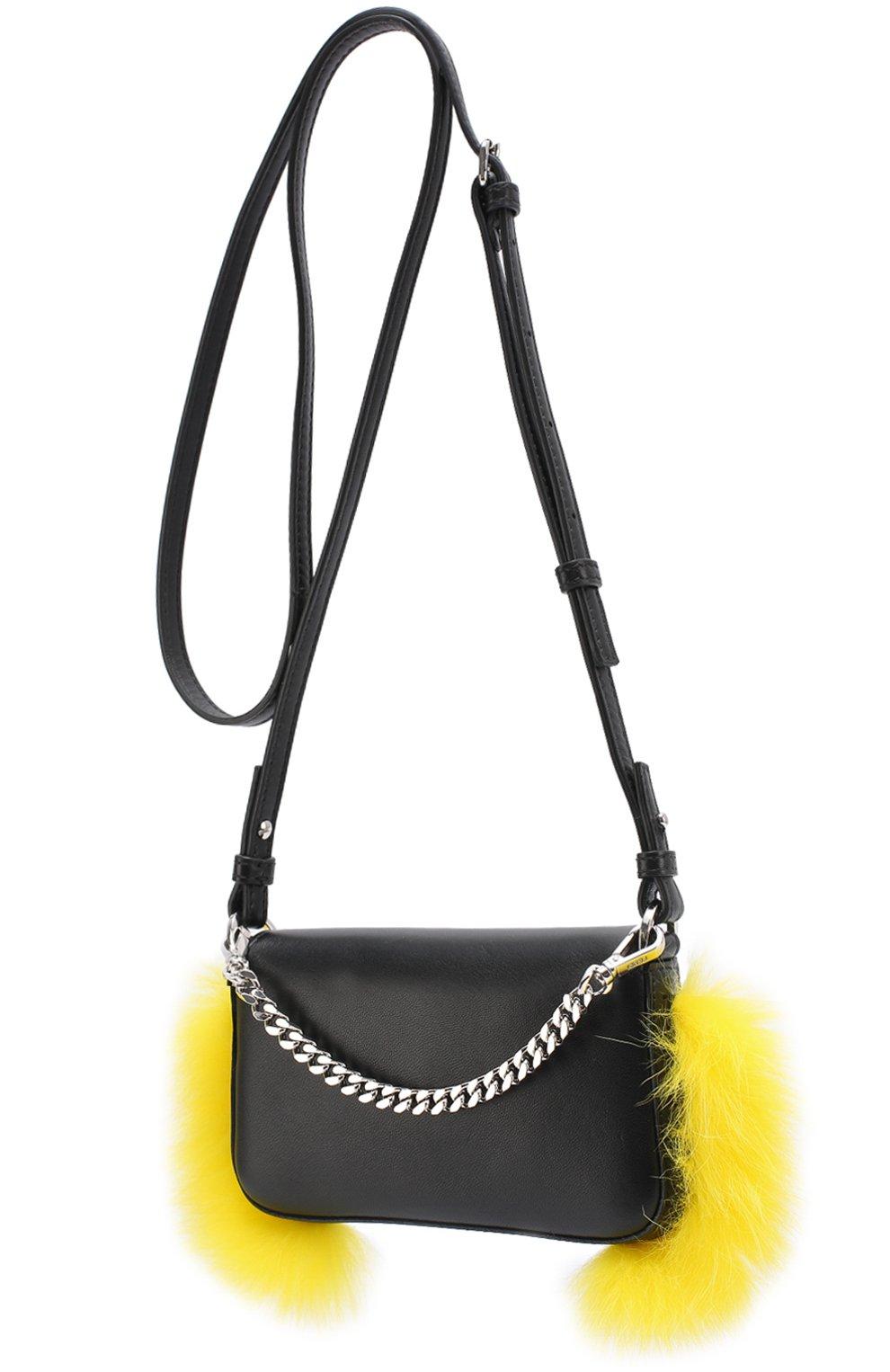 3734de2e2341 Женская сумка micro baguette с отделкой мехом FENDI черная цвета ...