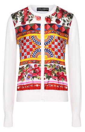 Шелковый кардиган с вязаными рукавами и ярким принтом Dolce & Gabbana белый | Фото №1