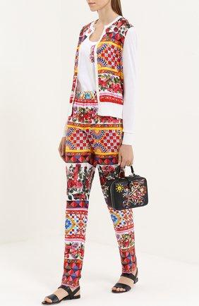Шелковый кардиган с вязаными рукавами и ярким принтом Dolce & Gabbana белый | Фото №2