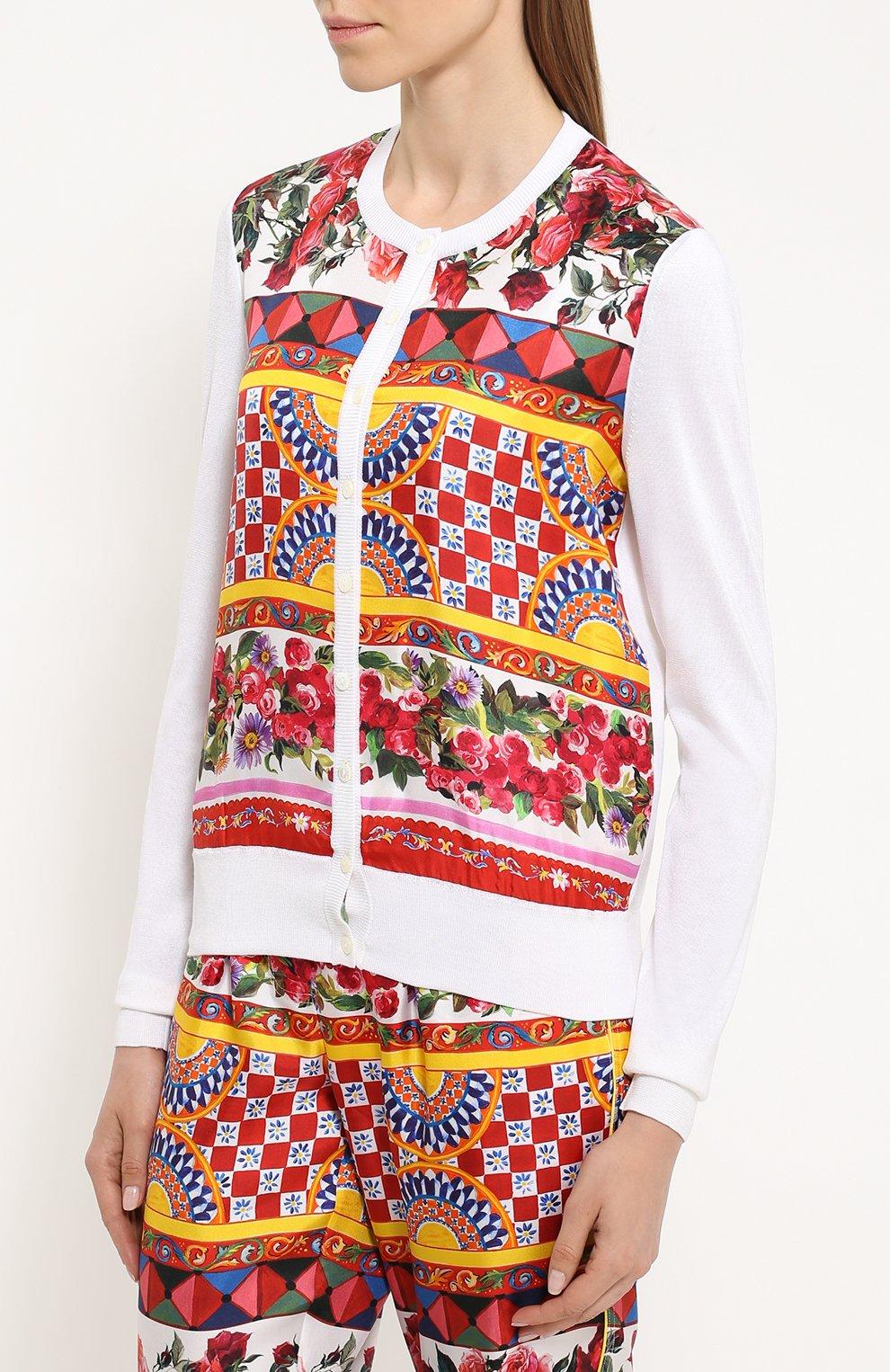 Шелковый кардиган с вязаными рукавами и ярким принтом Dolce & Gabbana белый | Фото №3