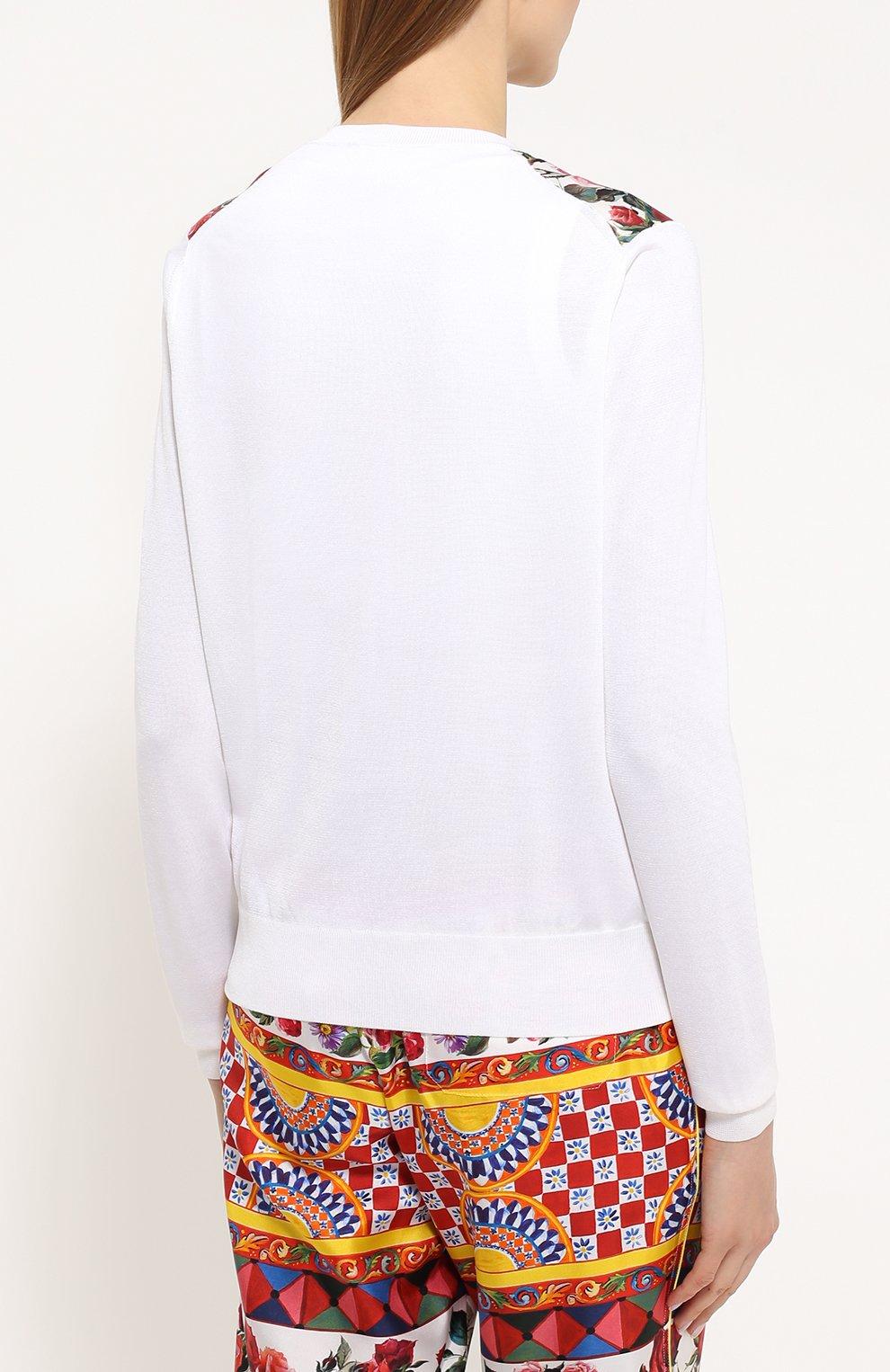 Шелковый кардиган с вязаными рукавами и ярким принтом Dolce & Gabbana белый | Фото №4