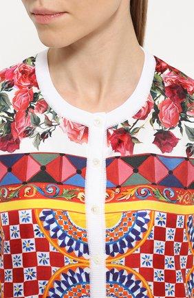 Шелковый кардиган с вязаными рукавами и ярким принтом Dolce & Gabbana белый | Фото №5
