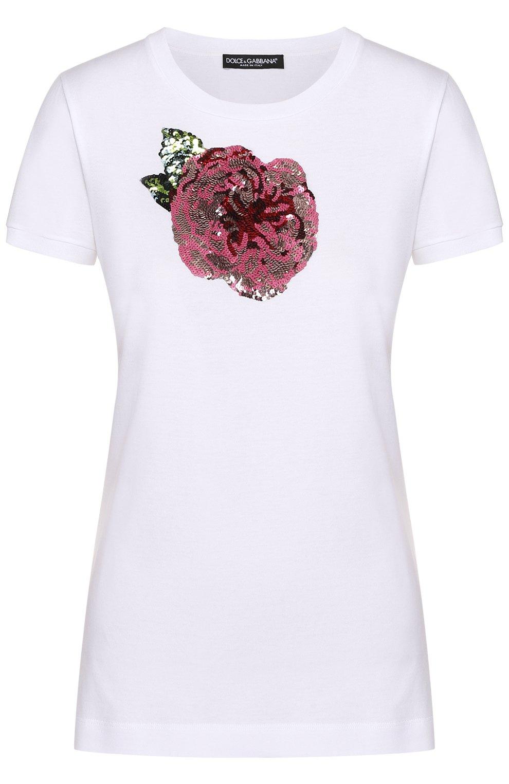 Приталенная футболка с контрастной вышивкой пайетками | Фото №1