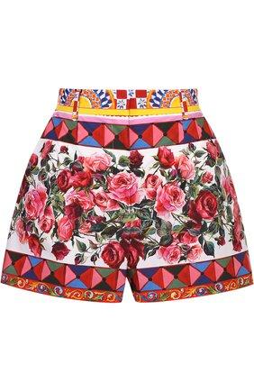 Хлопковые мини-шорты с ярким принтом Dolce & Gabbana разноцветные | Фото №1