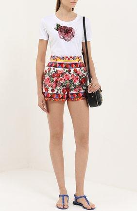 Хлопковые мини-шорты с ярким принтом Dolce & Gabbana разноцветные | Фото №2