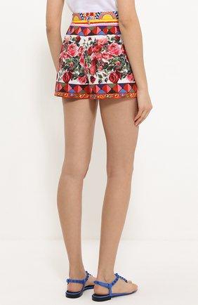 Хлопковые мини-шорты с ярким принтом Dolce & Gabbana разноцветные | Фото №4
