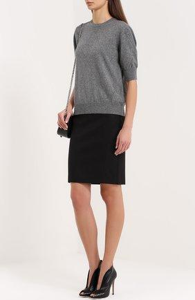Кашемировый пуловер с укороченным рукавом и перфорацией Blumarine серый   Фото №1