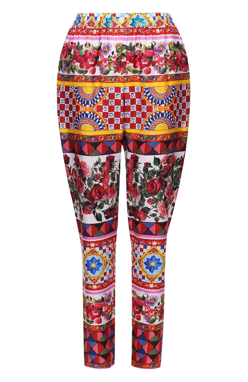 Шелковые брюки-бананы с ярким принтом   Фото №1