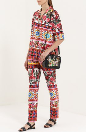 Шелковые брюки-бананы с ярким принтом Dolce & Gabbana разноцветные   Фото №2